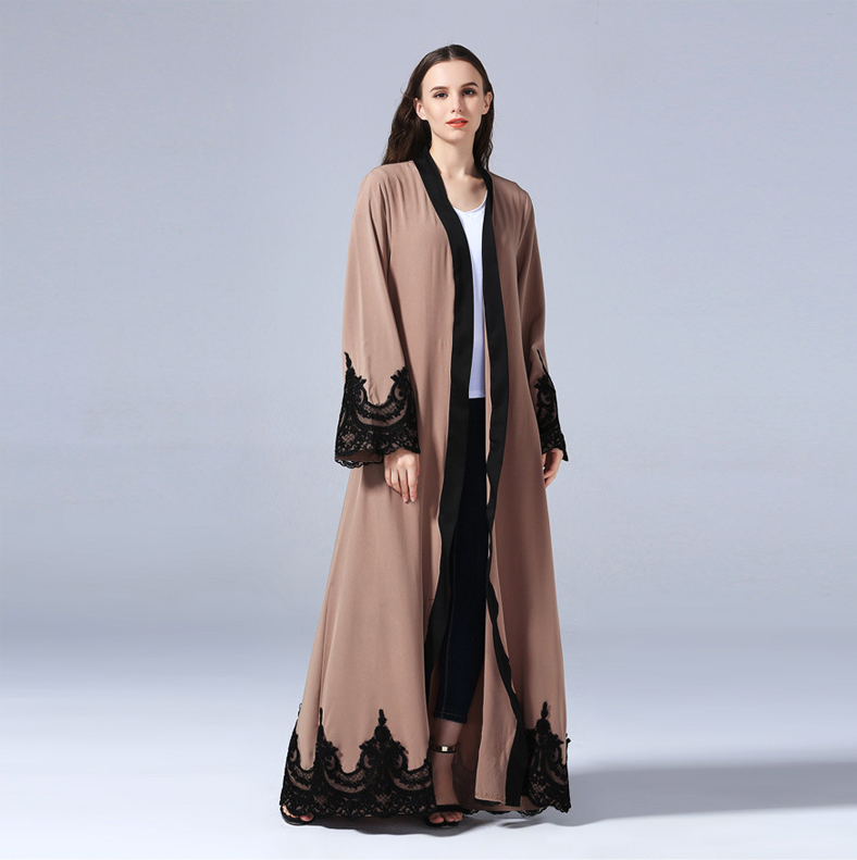 New design Lace dres Front open Abaya Kaftan Dress of Modern open Abaya