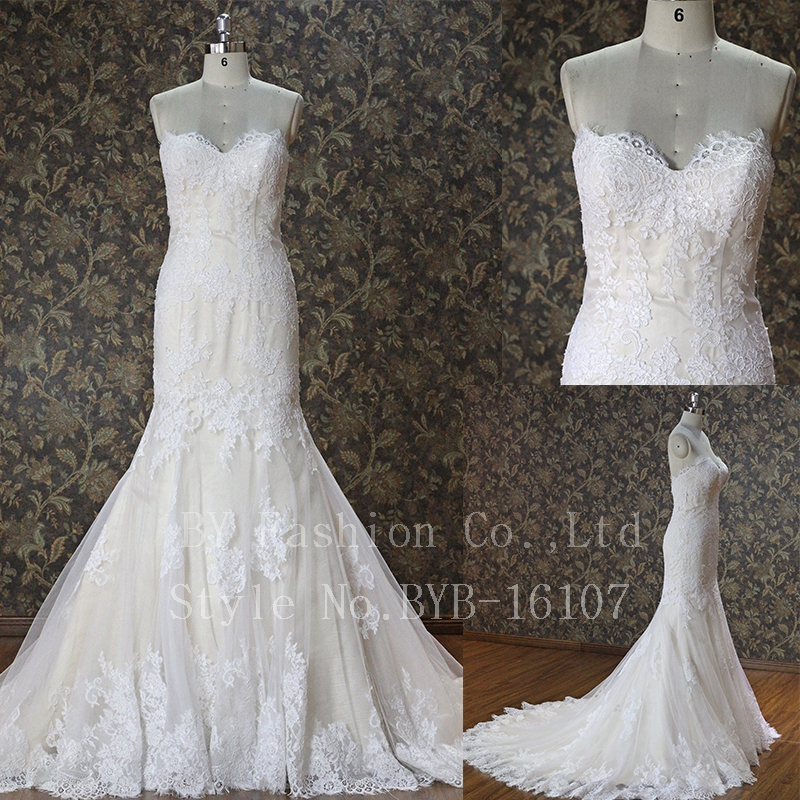 100% Real France lace fabric bridal dress soft lace wedding dress
