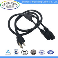 UL Power Supply Cord 3 Pin Plug to 2 x IEC C13 Extension Cords with Y Splitter Power Cord