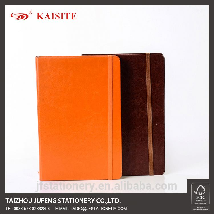 PVC paper A5 cheap simple design refillable leather notebook pu diary Notebook with elastic band