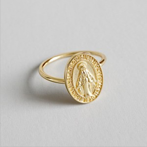 18k Gold Plating 925 Sterling Silver Virgin Mary Ellipse Coin Ring