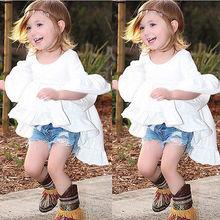 Vestido branco menina babados Tops de manga alargamento assimétrico partido Ruffles Hem vestidos 1-6a