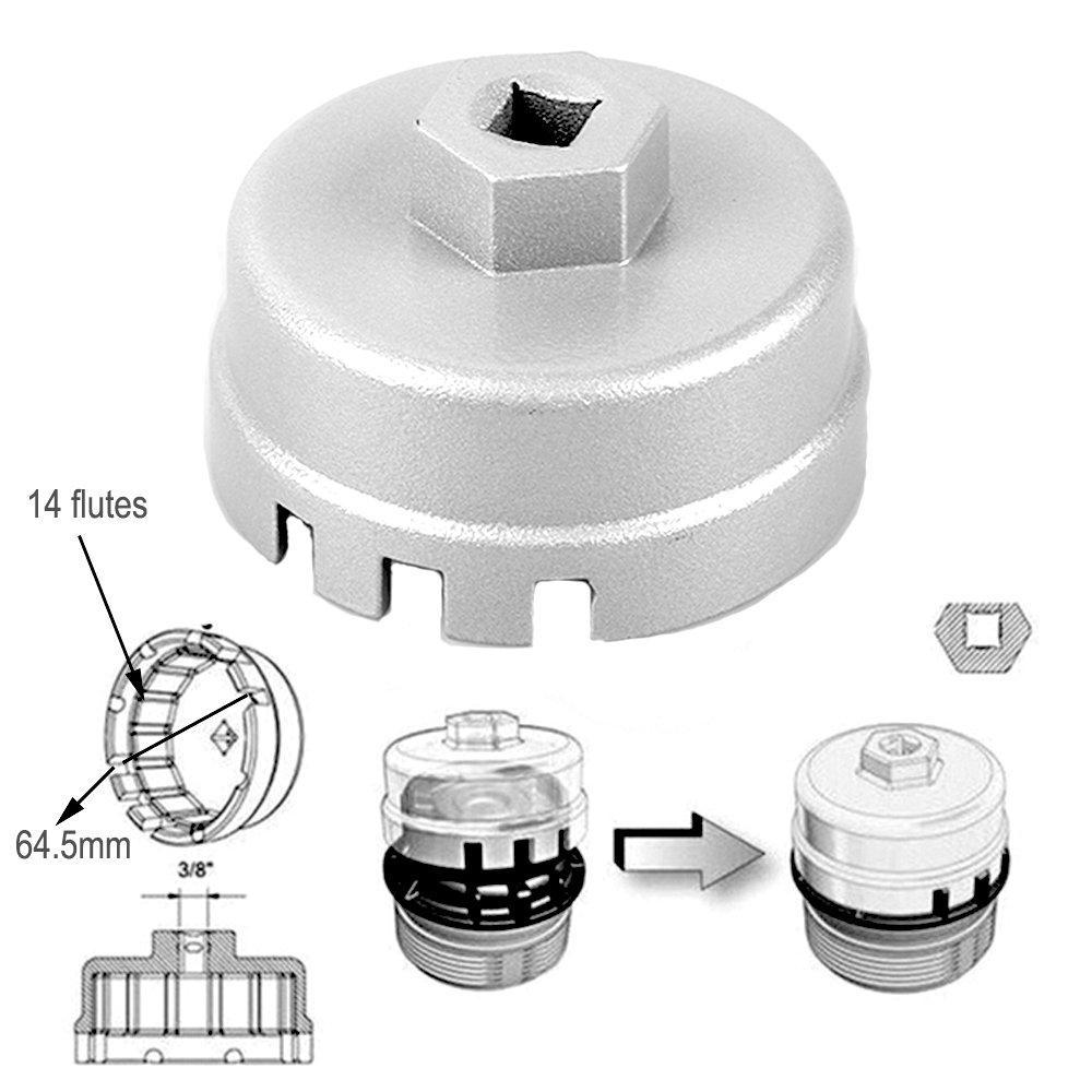 88mm Inner Dia 16 Flutes Steel Car Oil Filter Cap Wrench Housing Remover Tool