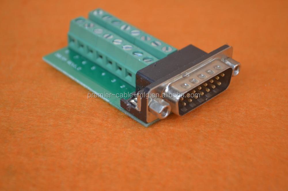 D-SUB DB15 VGA Male 3 Rows 15 Pin Plug Breakout Terminals Connector