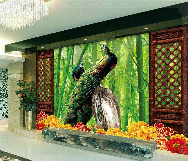 non tiss bambou 3d tv toile de fond creux portes d 39 eau froide dans fonds d 39 cran de. Black Bedroom Furniture Sets. Home Design Ideas
