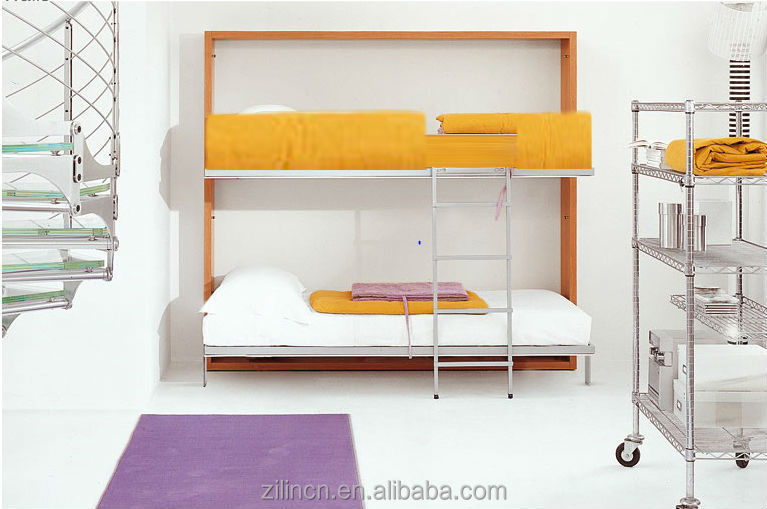 Horizontal Folding Beds : Horizontal double size folding bunk wall bed with desk