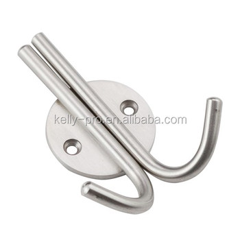 Wall Mounting Double Garment Robe Hooks Coat Hat Metal Stainless Steel