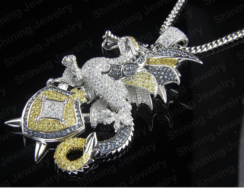 Large Hip Hop Cartoon Cz 316l Stainless Steel Custom