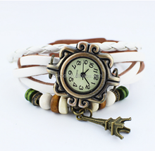 2015 Retro Leather Leaves Pendant Bracelet Watches Vintage Hand Knit Decoration Wristwatches All Star Women Dress Clock