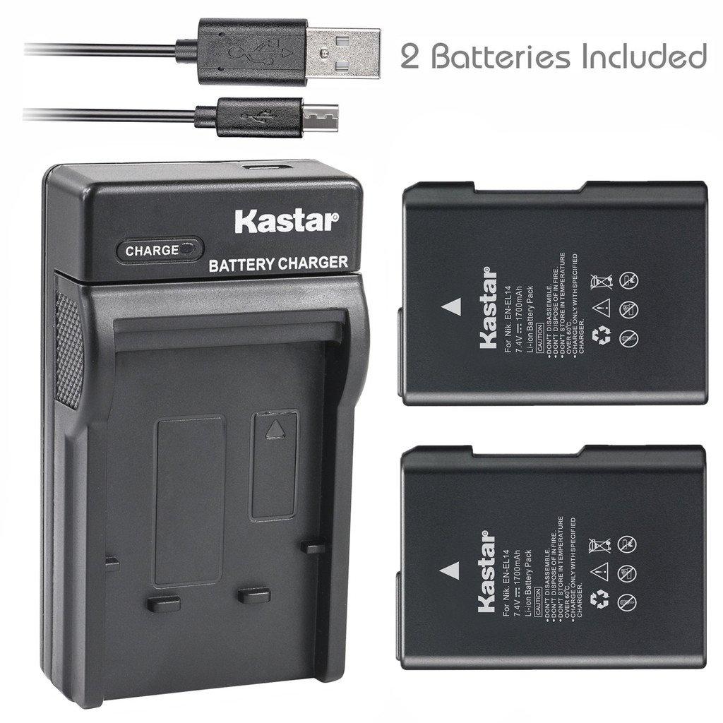Kastar Battery (X2) & Slim USB Charger for Nikon EN-EL14, EN-EL14a, MH-24 and Nikon Coolpix P7000 P7100 P7700 P7800, D3100, D3200, D3300, D5100, D5200, D5300 DSLR, Df DSLR Cameras & Grip