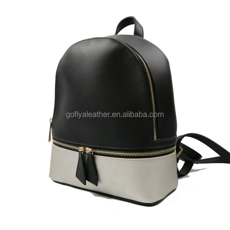 Alibaba China supplier ladies bags 40 L patch leather back zipper backpack