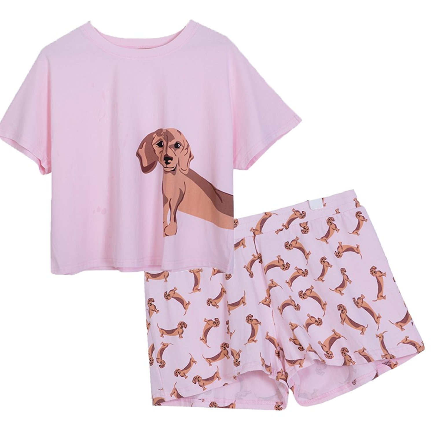 a75d3b3aab Get Quotations · Fashion Culture Junior s Dachshund Pajama Lounge Shorts    Crop Top Set