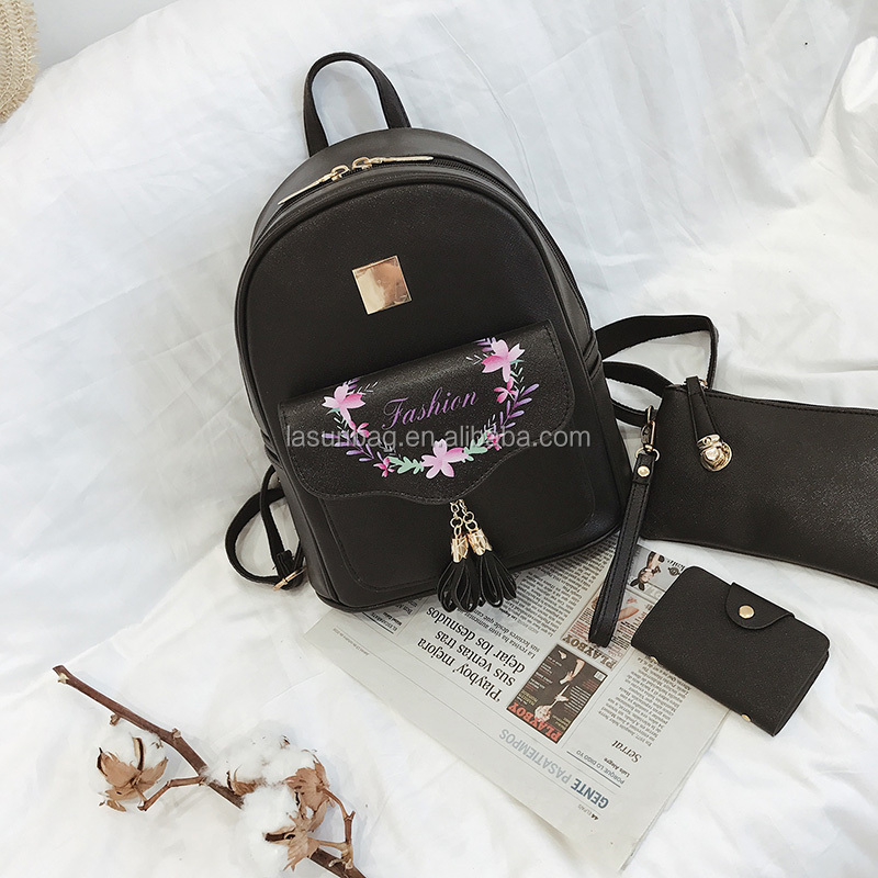 3 Pcs One Set Girsl Tassel Cute Portable <strong>Shoulder</strong> Bag Faux Leather Backpacks