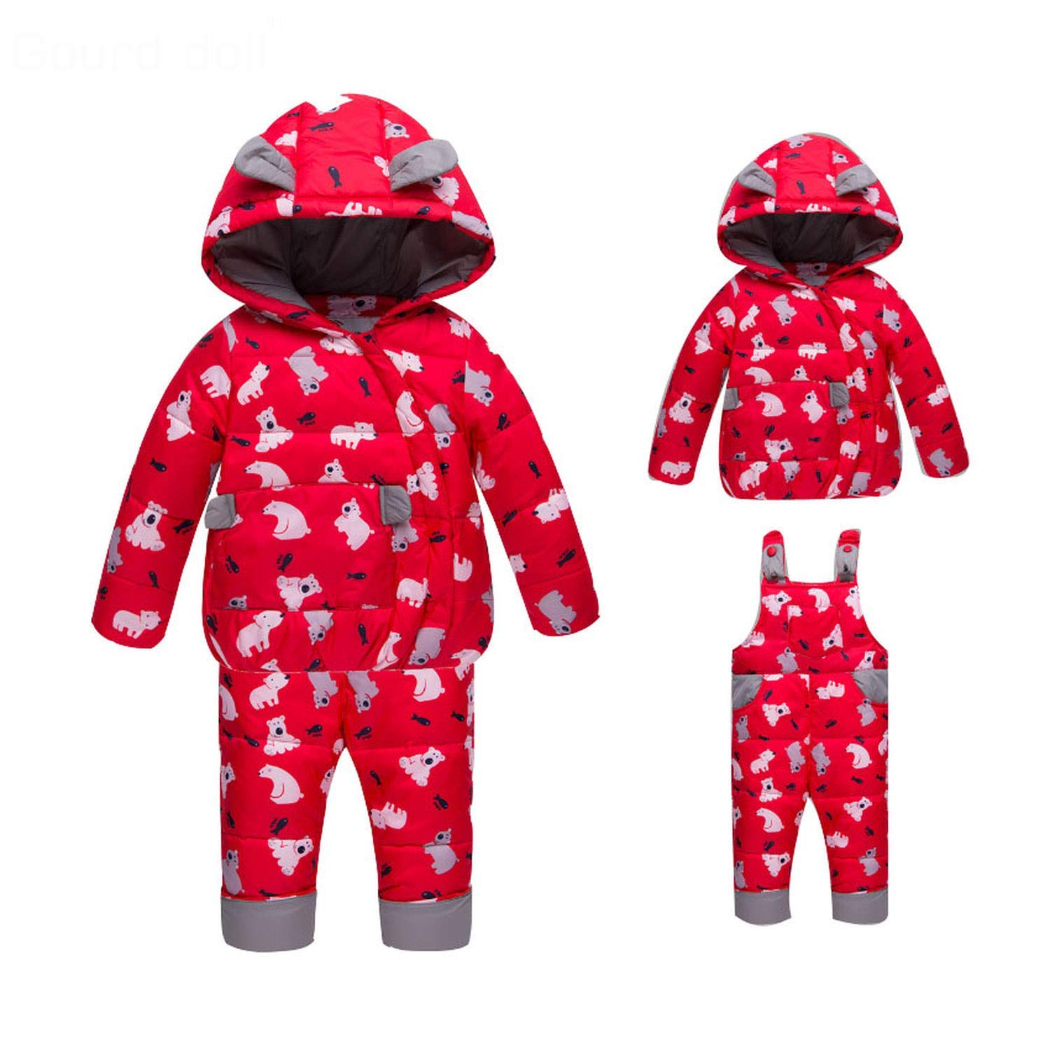 d170cf2ca Get Quotations · Mandaartins Winter Suits for Boys Girls Ski Suit Children  Clothing Set Baby Duck Down Jacket Coat