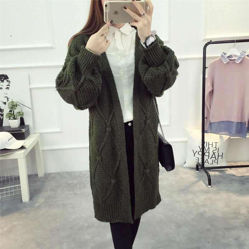 winter autumn long sleeve plain casual ladies long cardigan with pockets