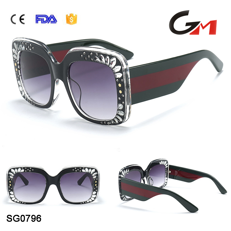 Good quality suglasses suppliers square pc frame big wide temple fashion export woman sunglasses