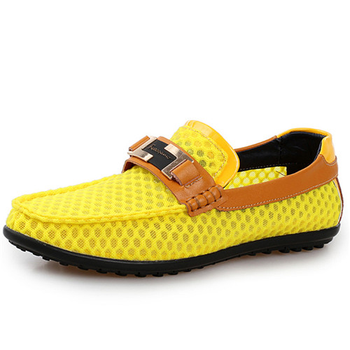 2015 Hot Sale Men Loafers Moccasins Driving Shoes Breathable Mesh Casual Man Slip On Flats Shoe Zapatos Hombre Yellow Size 38-44