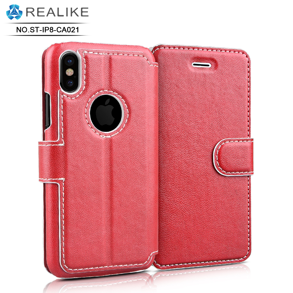 For iphone 8 case,Mix colour stand pu real leather case for iphone 8