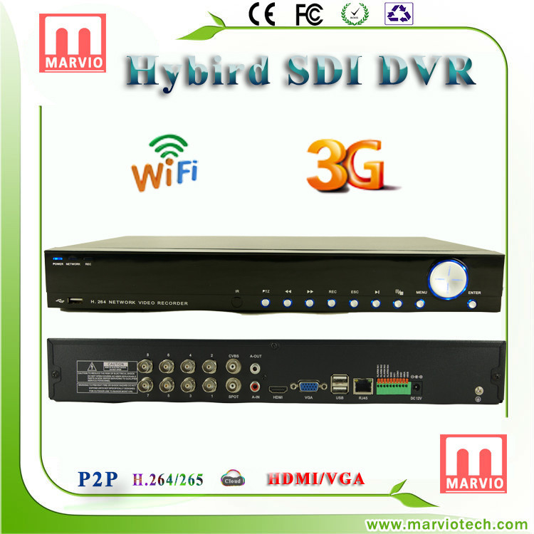 Marvio SDI 8007 Series DVR free cloud security system 4ch 8ch 16ch h.264 standalone cctv hd sdi dvr