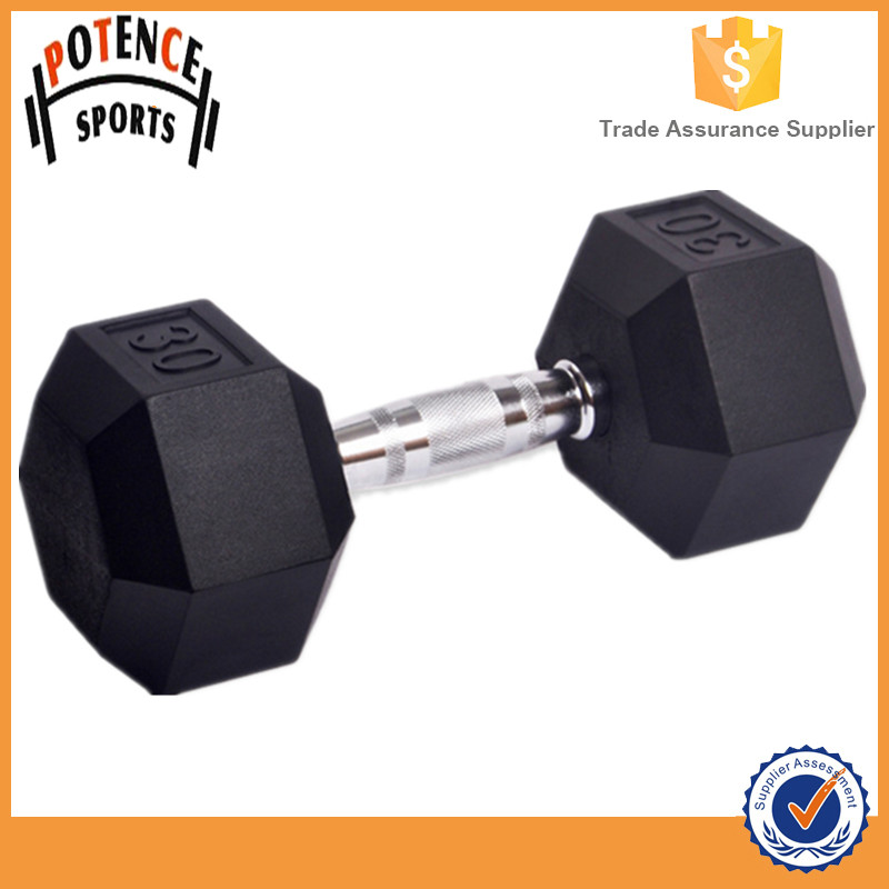 Sporting Goods Black Rubber Coated Hex Dumbbell Set