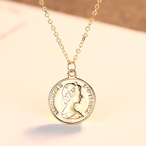 Custom design 14 K 금 엘리자베스 Round Coin 펜 던 트 Necklace 대 한 Women Charm 긴 Chain Necklace 14 K Yellow 금 jewel