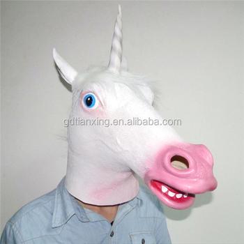 Unicorn Horse Face Mask Latex Halloween Party Costume Animal Theater Prop Wear & Unicorn Horse Face Mask Latex Halloween Party Costume Animal Theater ...
