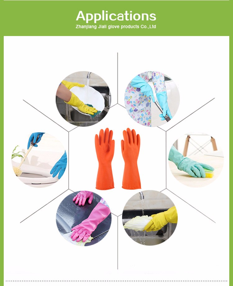Premium quality cut resistant cleaning long sleeve rubber gloves anti-sweat ansell kitchen guantes household latex gloves
