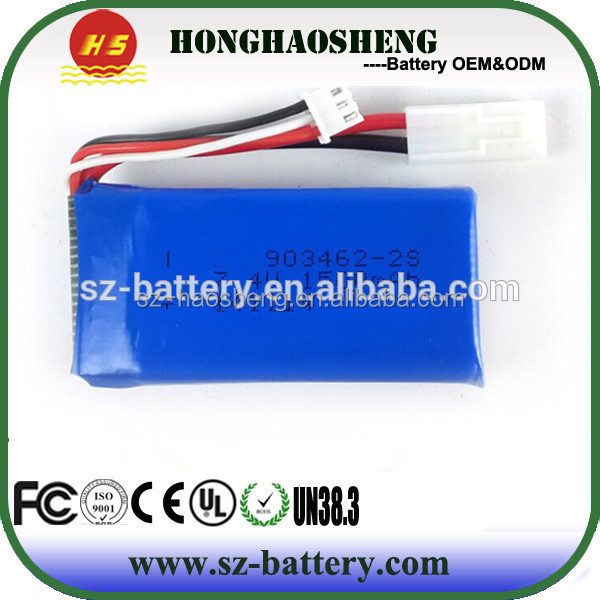 High rate 25C 2s lipo battery pack 903462 7.4v 1500mah battery rc helicopte for RC plane
