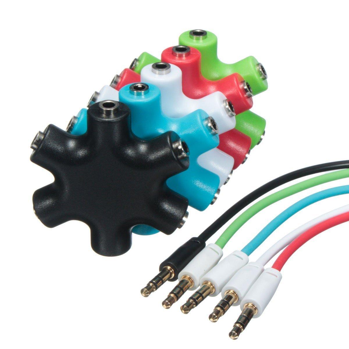 Cheap 3 5mm Bulk Headphone Splitter Find 6 Way Ports Male To 5 Female Audio Earphone 35mm Jack Adapter Get Quotations Random Color 1 2 4