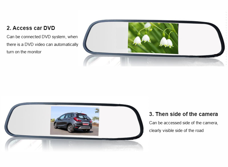 Car rearview mirror with 4.3 inch TFT LCD monitor auto dimming changeable