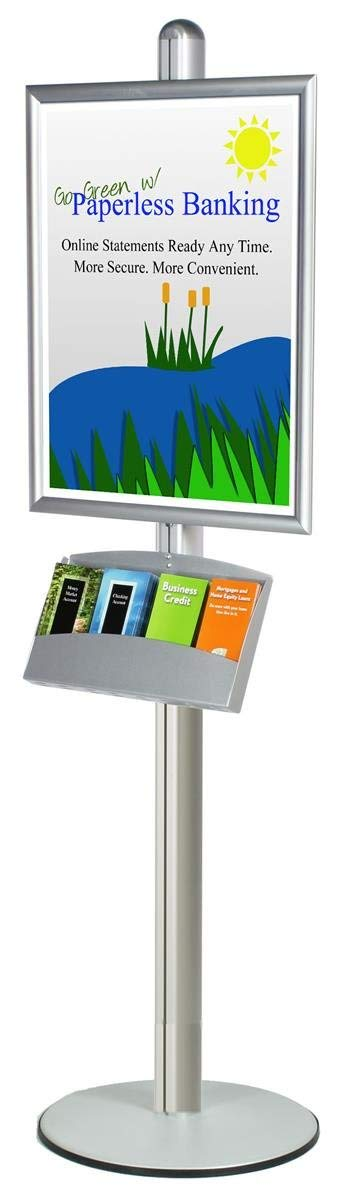 Silver Satin Finish Aluminum Poster Stand For Displaying 22 x 28-Inch Signs And 4 Pocket Literature Tray, 22 x 73 x 18-Inch, Snap-Open Frame And Non-Glare Lens