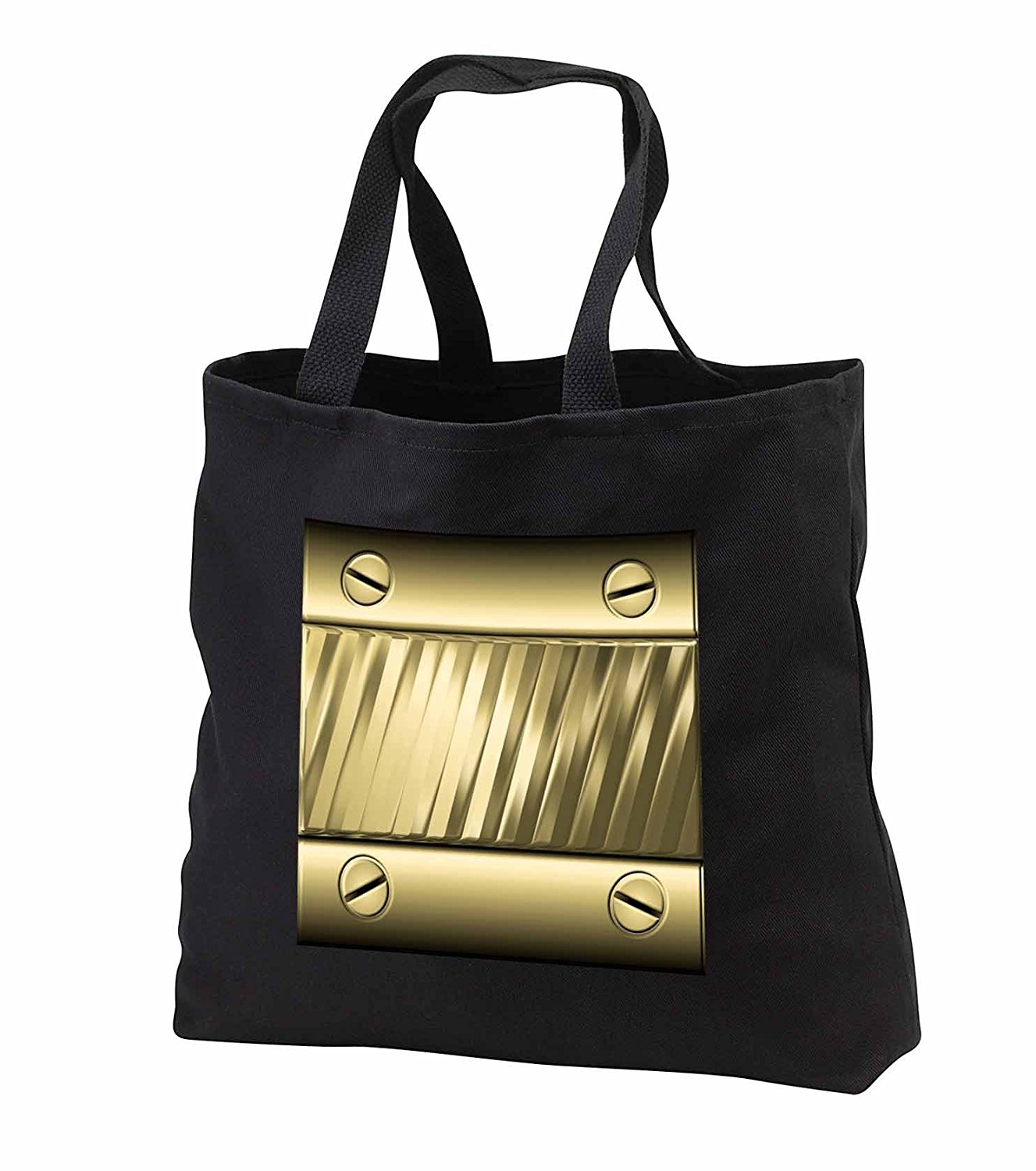 tb_242417 Charlyn Woodruff - CW Designs Faux Metal - Cool Faux Gold Tone Metal Plate with Screws Image - Tote Bags