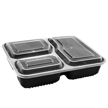 3 Compartment Microwave Safe Food Container With Lid Divided Plate Bento Box Lunch