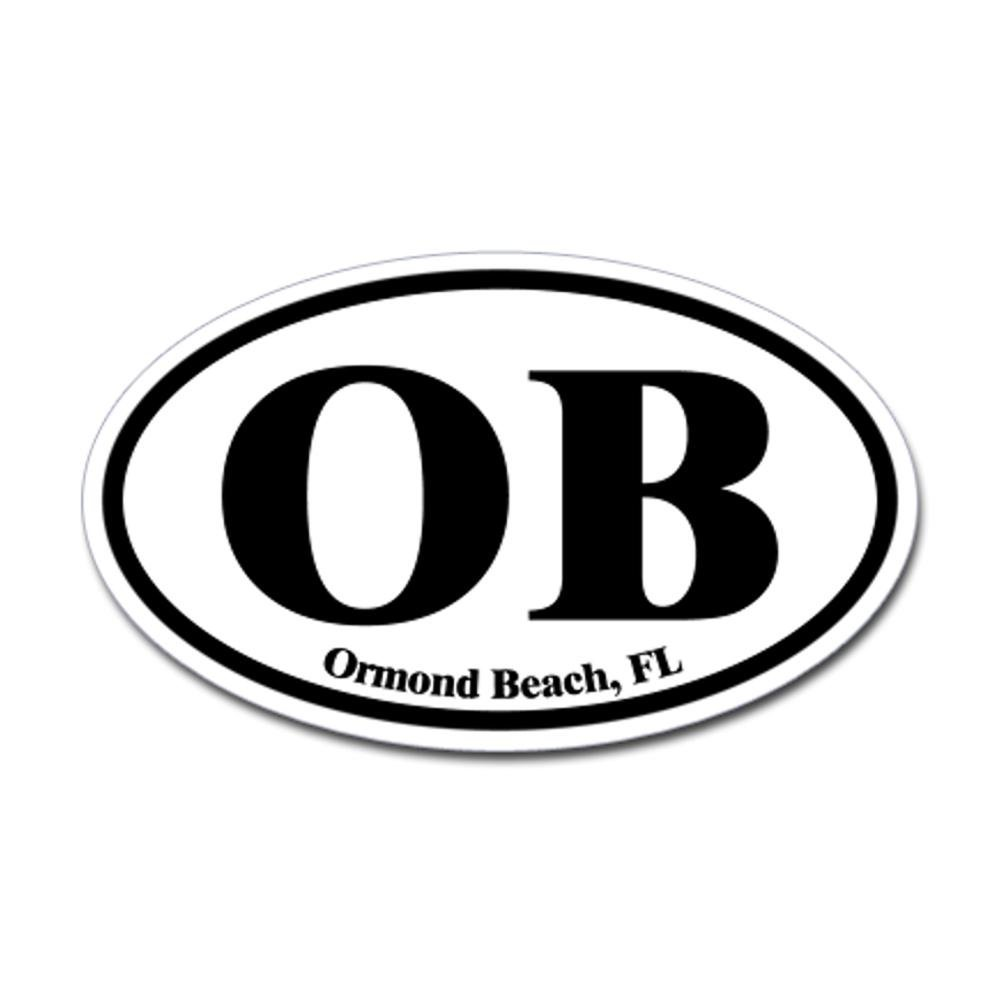 CafePress - Ormond Beach OB Euro Oval Oval Sticker - Oval Bumper Sticker, Euro Oval Car Decal