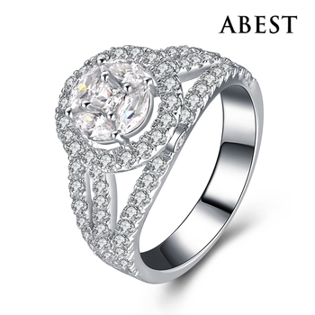 Hot Sale Jewelry 925 Sterling Silver White Gold Filled Engagement Ring With Charming CZ in Wholesale Wax Micro Setting