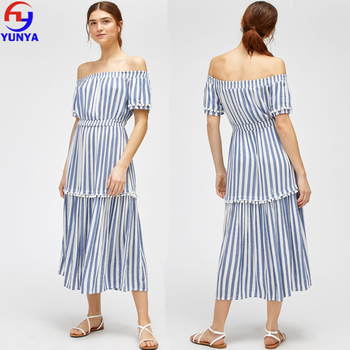 2018 women clothes dresses summer off shoulder tiered stripe midi dress