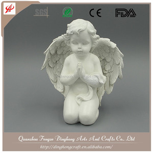 Resin Crafts White Angel,Unique Angel Home Decorations Kneeling Angel
