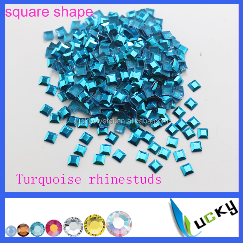 Korean quality Square shape Turquoise Hot fix Nailhead rhinestuds
