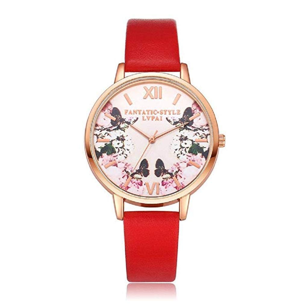 Big Promotion Windoson Women Quartz Watches Analog Clearance Ladies Wrist Watches Girl Watches Leather Female Watches (Red)