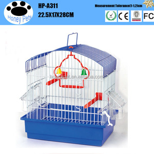 Blue color two outside feeder revolving doors small budgie bird cages