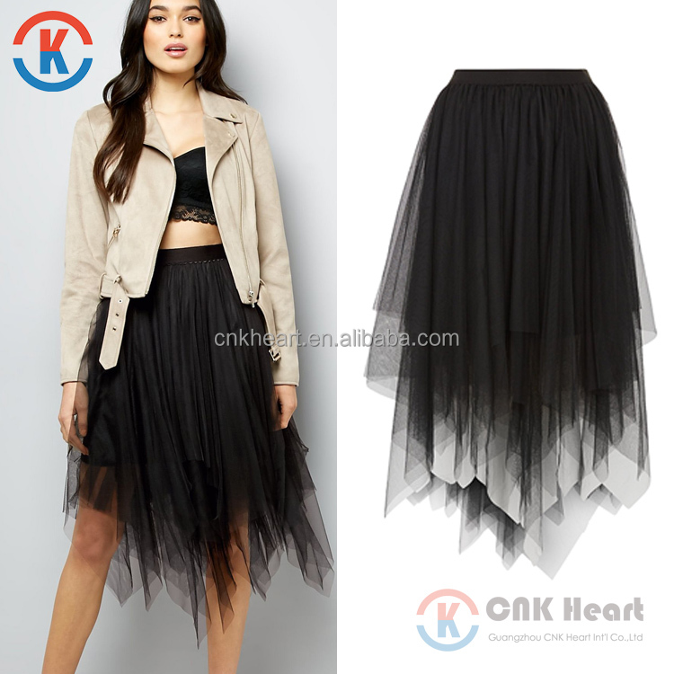 2017 Wholesale Latest Fashion Black Tulle Hanky Hem Midi Lace Skirt