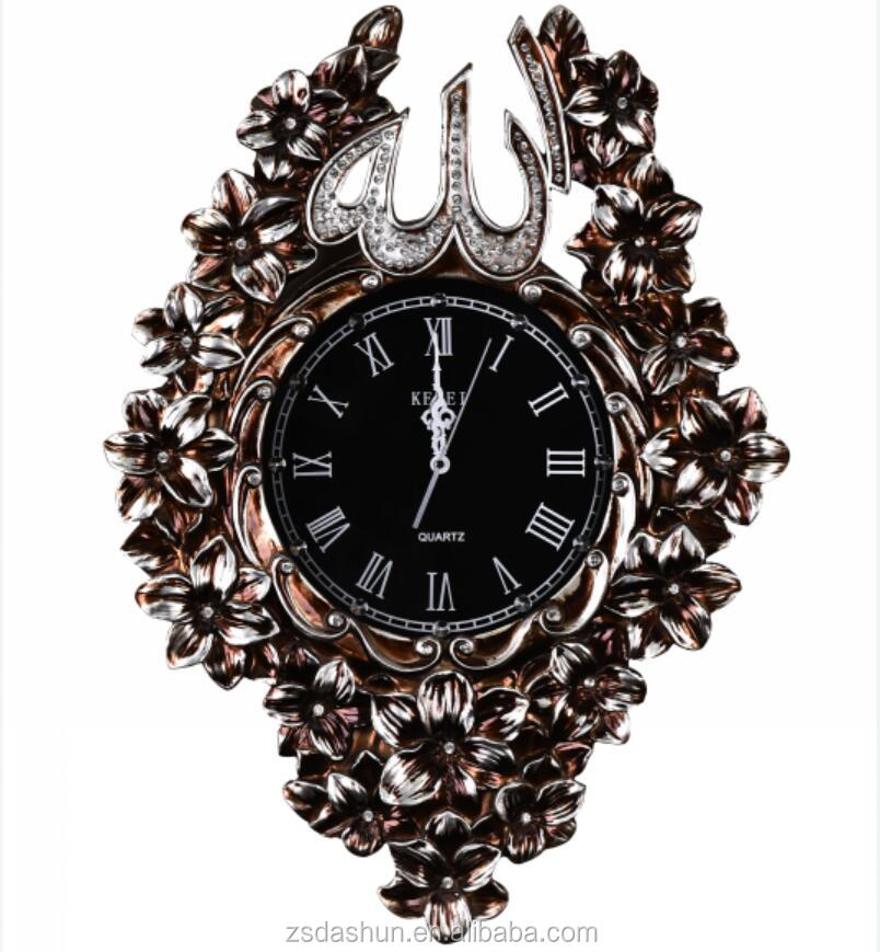 antique silver resin digital muslim prayer time wall clock