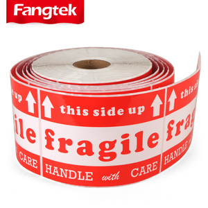 Permanent adhesive shipping care instructions fragile sticker, handle with care warning label