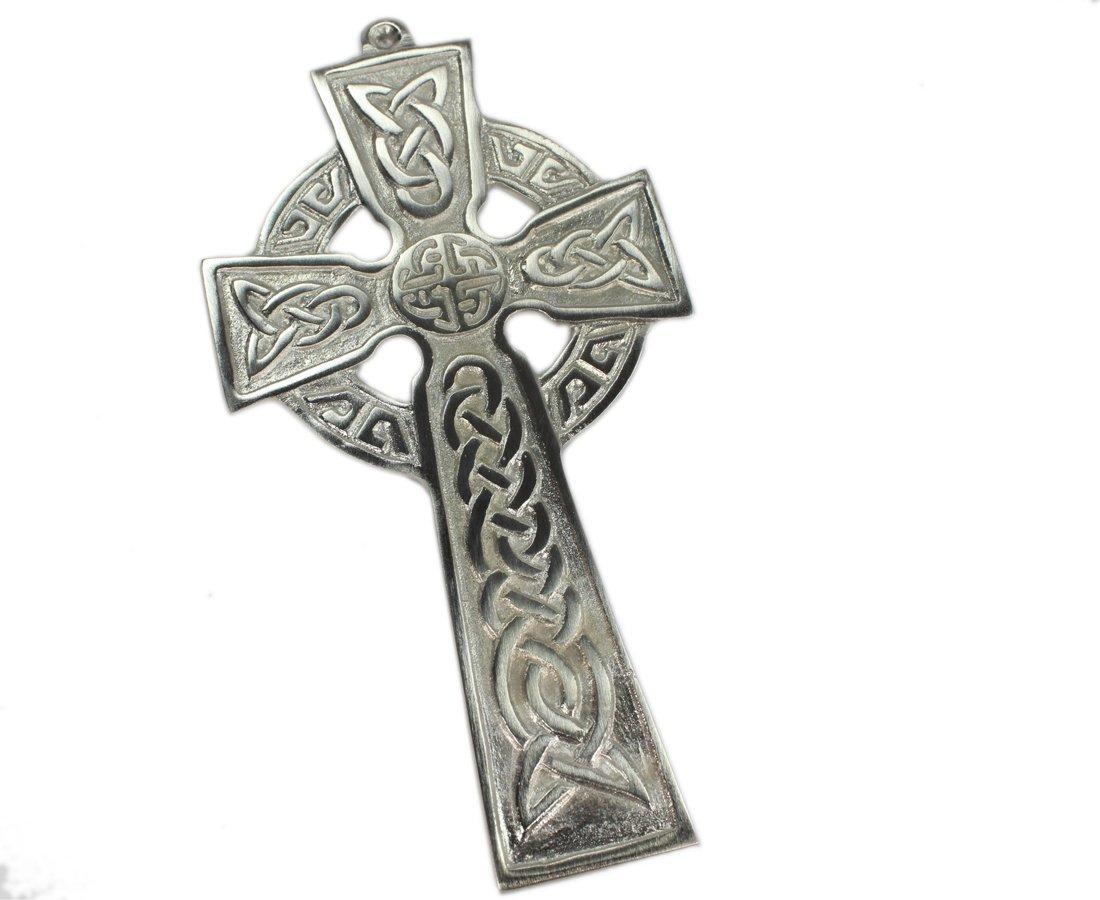 Satin Nickel Celtic Cross Wall Hanging Irish Made