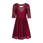 Female Wears Dress Casual Summer Open Back Hollow Out Half SLeeve Lace Red Dress