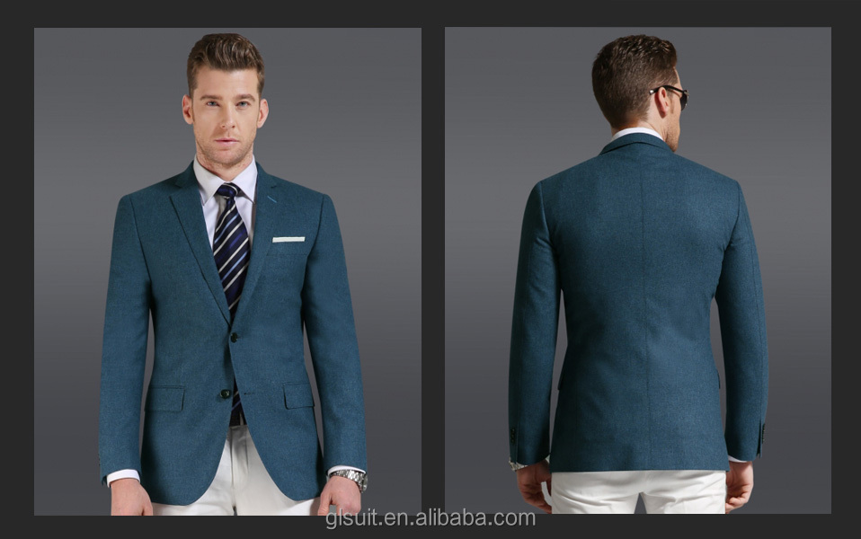 Wholesale Super 150's wool/cashmere two buttons Notch Lapel blue ...
