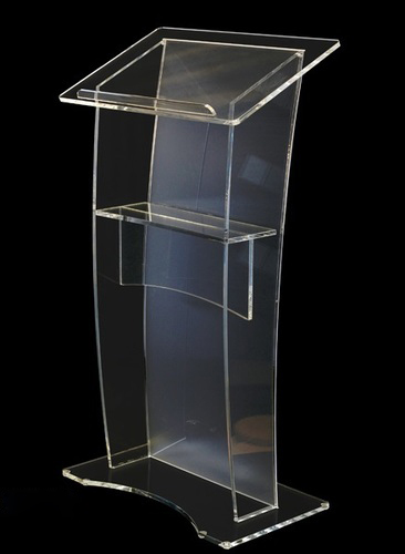 School furniture transparent vertical acrylic lectern