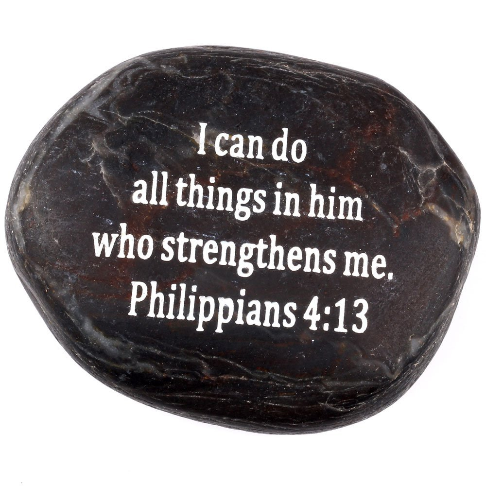 "Holy Land Market Engraved Inspirational Scripture Biblical Black Stones collection - Stone IV : Philippians 4:13 :"" I can do all things in him who strengthens me."