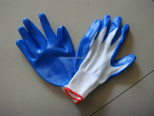 Nitrile Coated Safety Work Glove,zebra glove,Nitrile latex Coated/nylon gloves/bleached cotton gloves working with CE