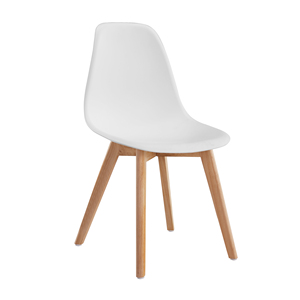 Cheap Modern White or Grey Polypropylene Wooden Legs Kitchen Chairs Plastic Dining Chairs Price